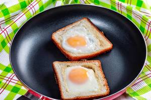 Fried eggs in toast bread in a frying pan (Flip 2019)