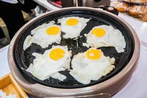 Fried eggs on electric fryer