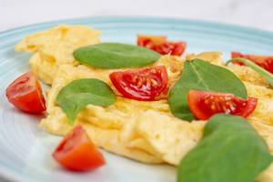 Fried Eggs with Baby Spinach and Cherry Tomato