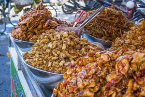 Fried Seafood Snacks sold at a Street Vendor in Vung Tau, Vietnam