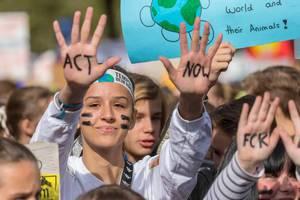 """Friedliche Demonstration am Protesttag für eine Klimawende. Schülerin mit Handbemalung fordert von Politikern """"Act now"""" - Handelt jetzt"""