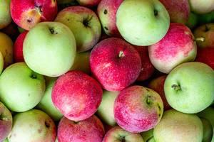 Frische Äpfel, gewaschen, mit Wassertropfen