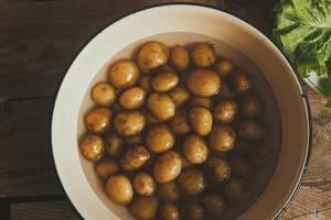 Frische, kleine Kartoffeln im Wasser in einem Kochtopf auf rustikalem Holztisch