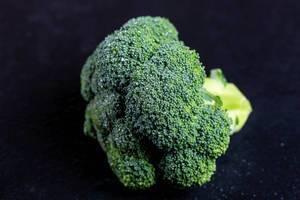 Frischer grüner Broccoli auf schwarzem Hintergrund
