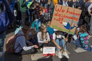 Fröhliche Schüler sitzen auf der Straße und haben die Schnauze voll - Fridays for Future