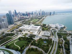 From above: Museum Campus, The Field Museum, Shedd Aquarium, Grant Park and Skyline of Chicago