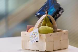 Frugee Früchtekorb als Wilkommensgeschenk auf dem Bits & Pretzels Festival in München