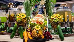 Fruit carving and sculptures on display