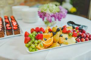Fruit Plate Of Strawberries, Pineapple,Oranges and Grapes (Flip 2019)