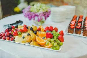 Fruit Plate Of Strawberries, Pineapple,Oranges and Grapes