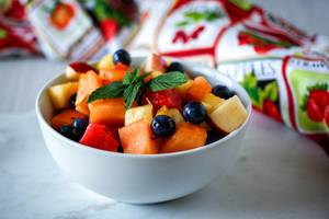 Fruit Salad Close-Up in a White bowl