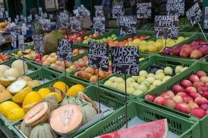 Fruit stand with a wide variety of fruit at Naschmarkt in Vienna