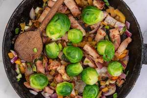 Frying Vegetables with Bacon and Brussel Sprouts