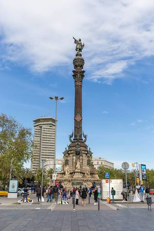 "Full Christopher Columbus Monument ""Mirador de Colom"" at La Rambla in Barcelona, Catalonia (Spain)"