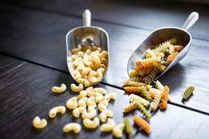 Fusilli and pipette rigate dry pastas