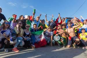 Fußballfans unterschiedlicher Nationalitäten