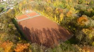 Fußballspielplatz und Tennisspielplätze in Buchheim, Köln - Luftbildaufnahme