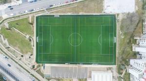 Fußballstadion Campo de Futbol Magaluf, Mallorca aus der Vogelperspektive
