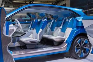 Futuristic interior design of Chinese electric SUV car Wey-S