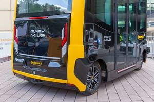 Futuristic mobility: self-driving electric shuttle  driverless vehicle EasyMile