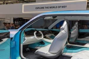 Futuristisches Innenraumdesign des Elektroautos Wey-X