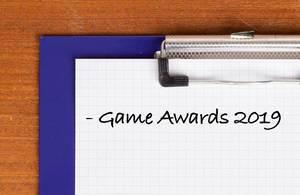 Game Awards 2019 als Text auf einem Klemmbrett geschrieben