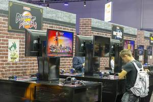 """Games fair """"Gamescom"""" visitors can play the fighting video game Dragon Ball FighterZ by Arc System Works"""