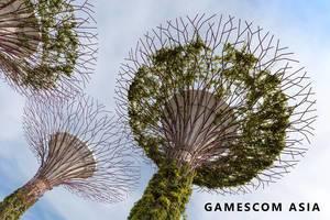 Gamescom asia in in Singapur (Singapore) Gamescom Asia (Künstliche Bäume Supertree Grove in Singapur)