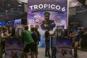Gamescom-Spielstation für das politische Simulationsspiel Tropico 6, von  Limbic Entertainment