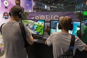 Gamescom video game station: kids play the strategic simulation game Tropico 6  by Limbic Entertainment