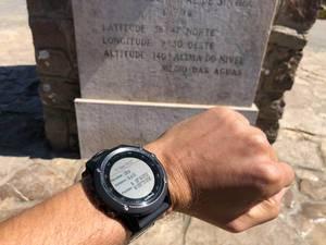 Garmin Smartwatch am Cabo da Roca mit Koordinaten