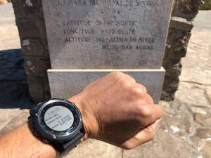 Garmin Smartwatch on wrist at Cabo da Roca with Coordinates