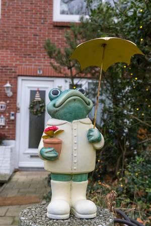 Gartendekoration aufrecht stehender Frosch mit Blumentopf und Sonnenschirm vor Hauseingang