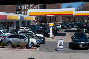 Gas Station in Boston used as parking lot during events