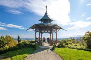 Gazebo in Schlossberg hill park with spectacular Graz view