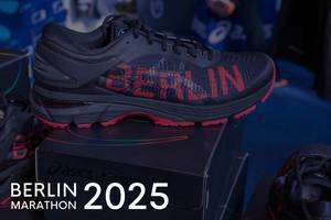 "Gel-Kayano 25 City Icon running shoe by Asics, next to the title ""Berlin Marathon 2025"""