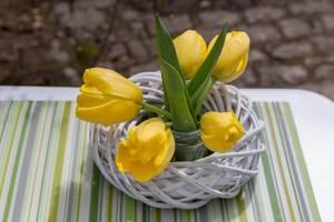 Gelbe Tulpen als Tischdekoration
