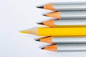 Gelber Stift unterscheidet sich von der Menge der vielen identischen, grauen Bleistifte, auf weißem Hintergrund