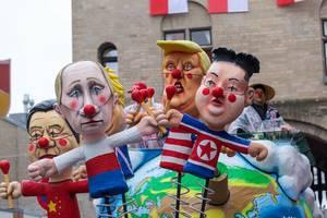 German carnival: Putin, Trump, Kim Jong-Un, Xi Jin Ping and Boris Johnson in clowns costumes inspired by Stephen Kings IT