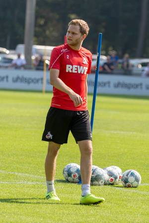 German defender Benno Schmitz on the fiel during football practice