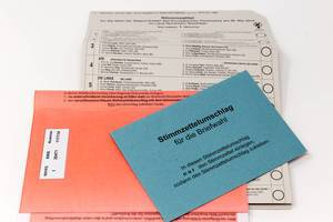 German election documents and ballot paper for the postal vote of the European elections 2019