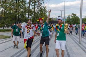 German soccer fans roam the streets of Moscow