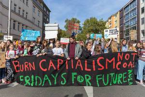 "German students marching for climate, Fridays for Future in Cologne, Germany - ""Burn Capitalism - Not Coal"""