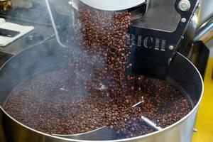 Geröstete Kaffeebohnen fallen aus der Röstmaschine von Diedrich, um gemahlen zu werden