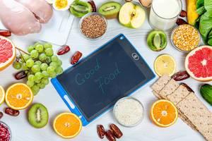 Gesunde Lebensmittel für eine ausgewogene Ernährung, mit der Aufschrift: Gute Lebensmittel