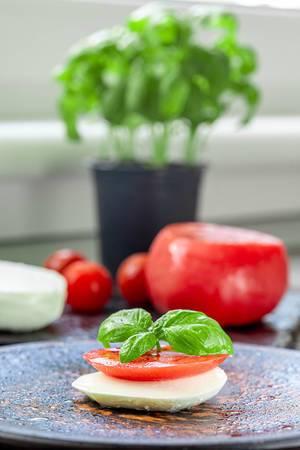 Gesunder Snack mit einer frischen Tomatenscheibe auf Mozzarella, dekoriert mit Basilikum, auf einem Teller in der Küche