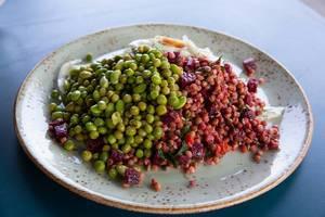 Gesundes Essen: Edame, Linsen, rote Beete und Fenchel-Apfel auf einem Teller