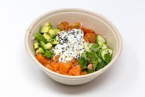 Gesundes Gericht mit Lachs, Avocado, Tomate, Gurke und Petersilie in Schale