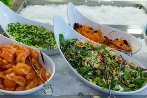 Gesundes Mittagessen mit Salat, geraspelten Möhren, Gurken und Tomaten in geschwungenen Schalen auf Kühlbehältern mit crushed-ice