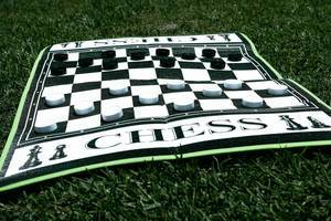 Giant chess game on grass